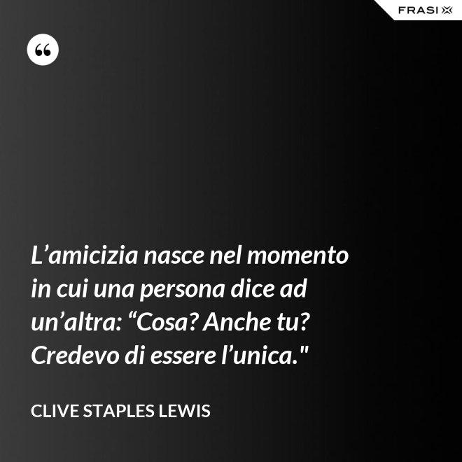 """L'amicizia nasce nel momento in cui una persona dice ad un'altra: """"Cosa? Anche tu? Credevo di essere l'unica."""" - Clive Staples Lewis"""