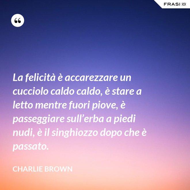La felicità è accarezzare un cucciolo caldo caldo, è stare a letto mentre fuori piove, è passeggiare sull'erba a piedi nudi, è il singhiozzo dopo che è passato. - Charlie Brown