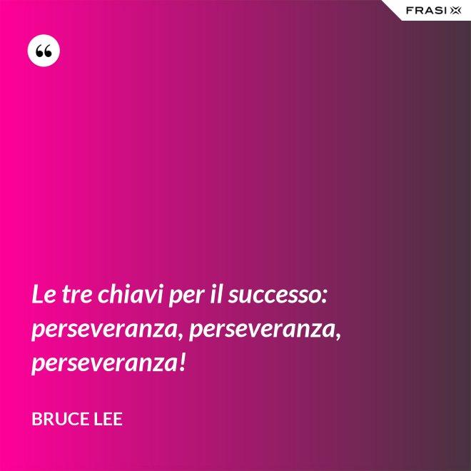 Le tre chiavi per il successo: perseveranza, perseveranza, perseveranza! - Bruce Lee