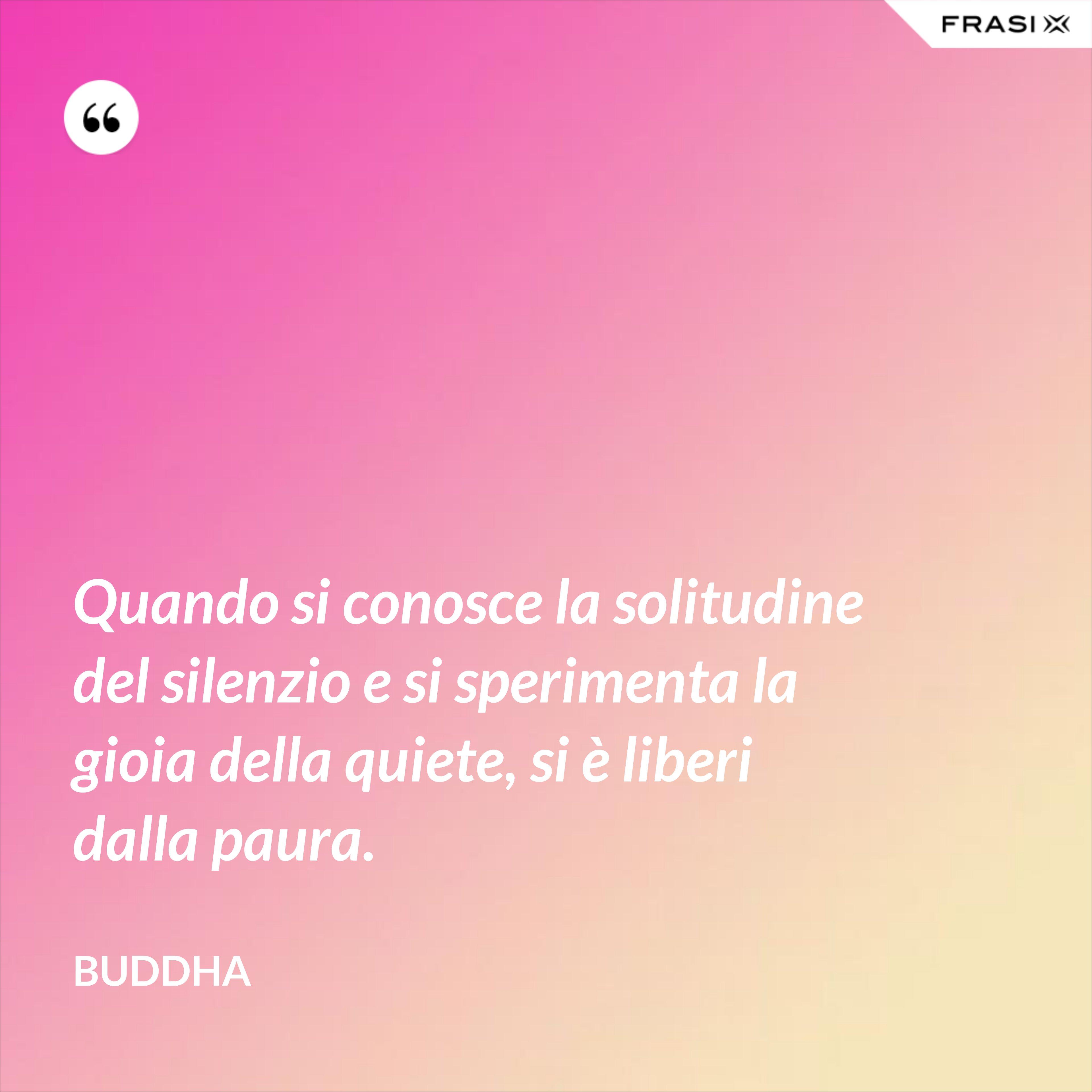 Quando si conosce la solitudine del silenzio e si sperimenta la gioia della quiete, si è liberi dalla paura. - Buddha