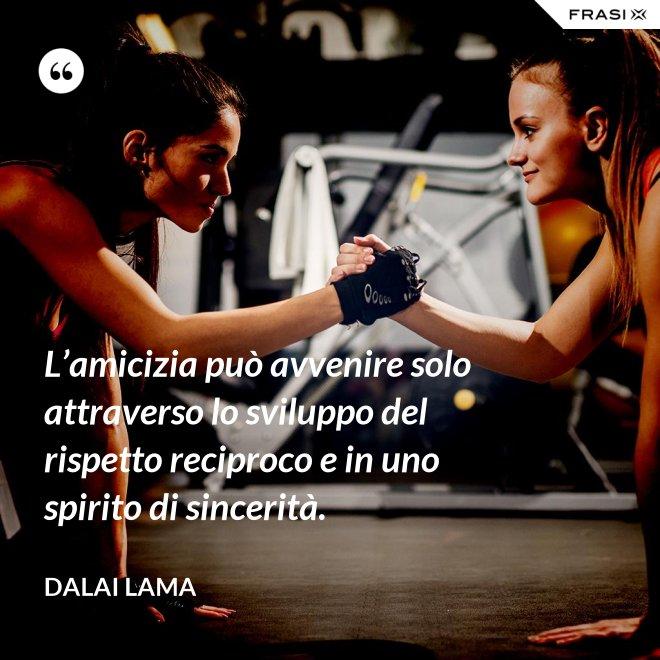 L'amicizia può avvenire solo attraverso lo sviluppo del rispetto reciproco e in uno spirito di sincerità. - Dalai Lama