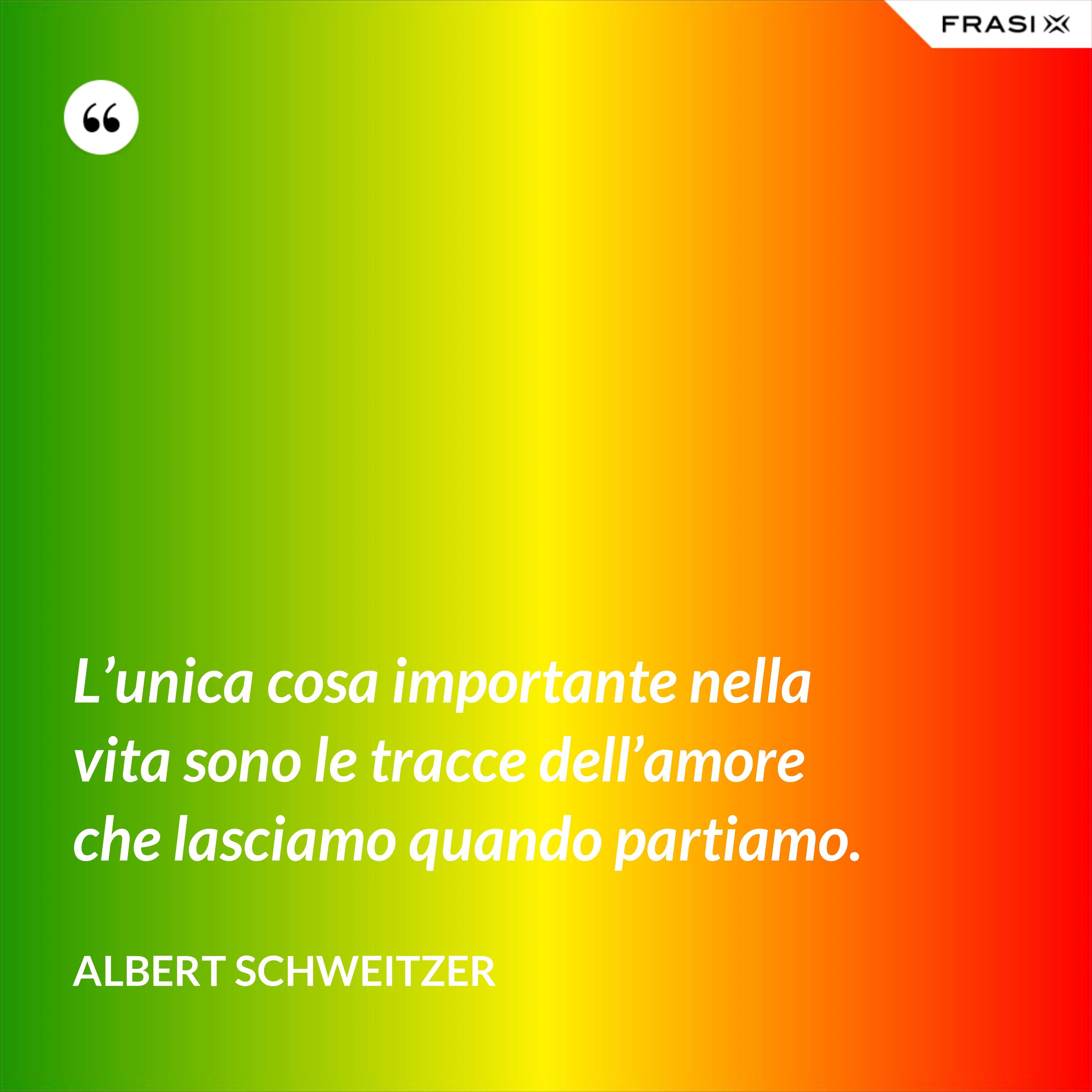 L'unica cosa importante nella vita sono le tracce dell'amore che lasciamo quando partiamo. - Albert Schweitzer
