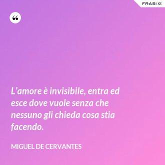 L'amore è invisibile, entra ed esce dove vuole senza che nessuno gli chieda cosa stia facendo. - Miguel de Cervantes