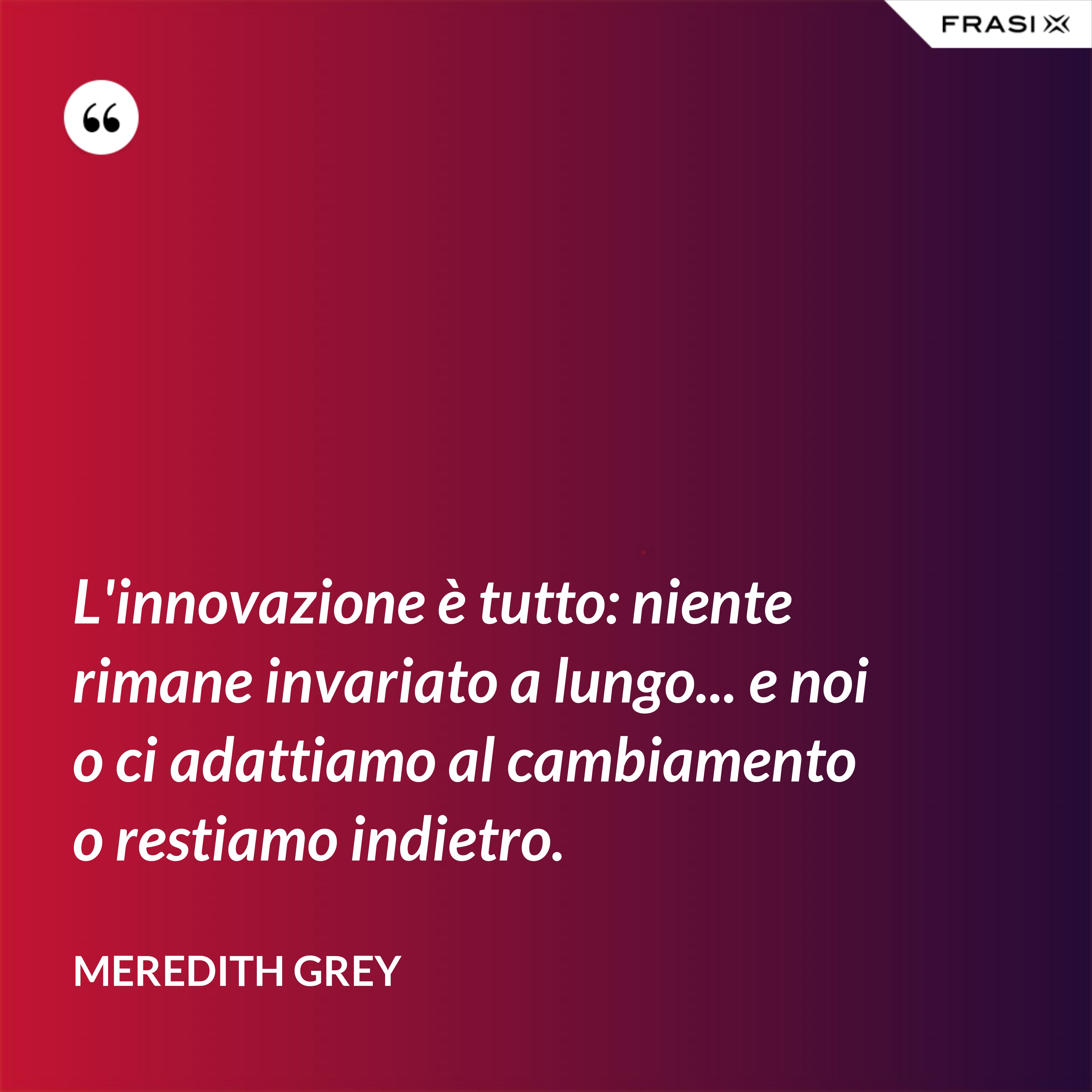 L'innovazione è tutto: niente rimane invariato a lungo... e noi o ci adattiamo al cambiamento o restiamo indietro. - Meredith Grey