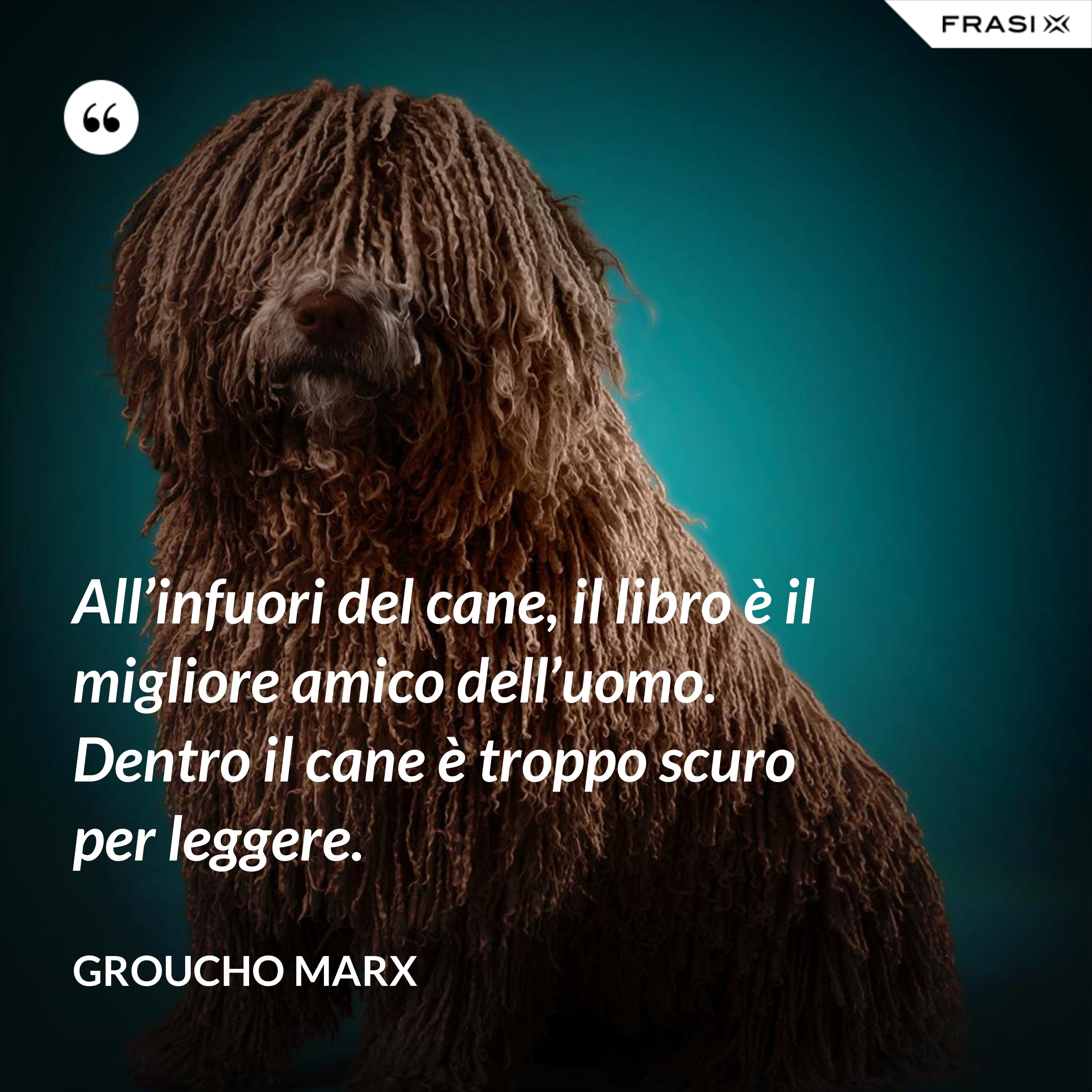 All'infuori del cane, il libro è il migliore amico dell'uomo. Dentro il cane è troppo scuro per leggere. - Groucho Marx