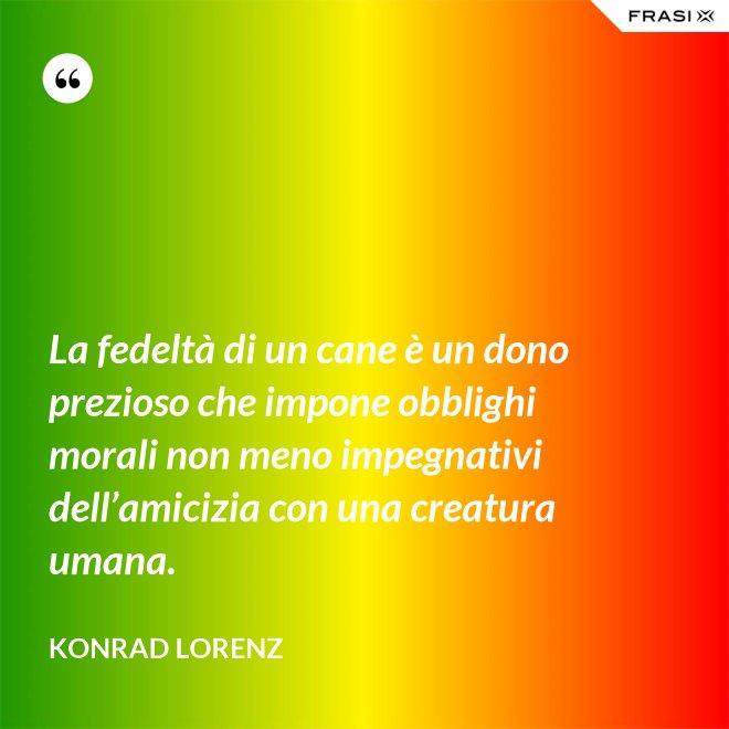 La fedeltà di un cane è un dono prezioso che impone obblighi morali non meno impegnativi dell'amicizia con una creatura umana. - Konrad Lorenz