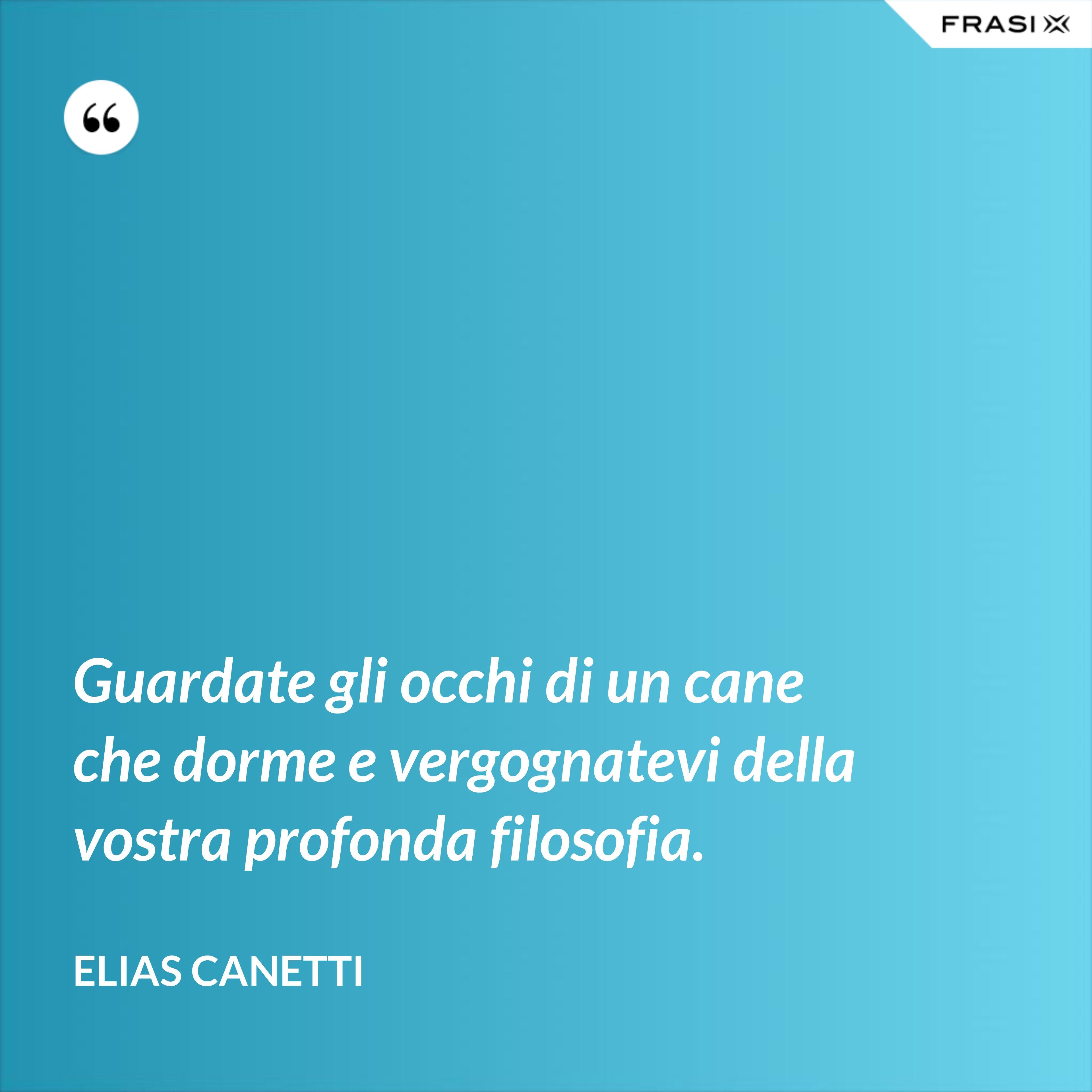 Guardate gli occhi di un cane che dorme e vergognatevi della vostra profonda filosofia. - Elias Canetti