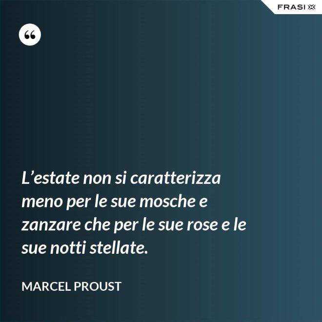 L'estate non si caratterizza meno per le sue mosche e zanzare che per le sue rose e le sue notti stellate. - Marcel Proust