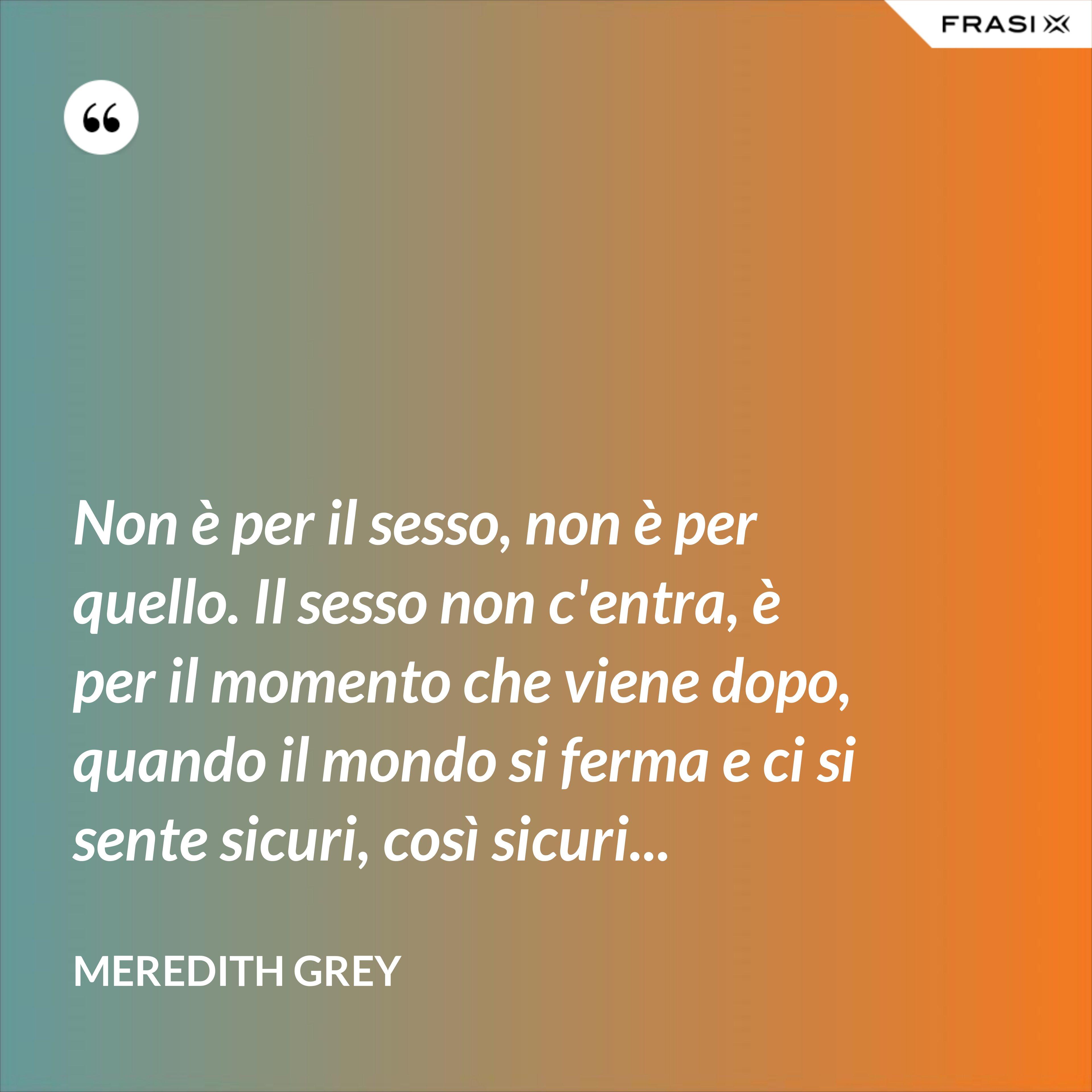 Non è per il sesso, non è per quello. Il sesso non c'entra, è per il momento che viene dopo, quando il mondo si ferma e ci si sente sicuri, così sicuri... - Meredith Grey