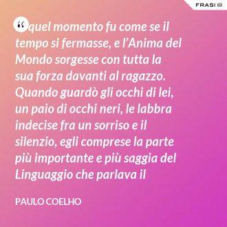 In quel momento fu come se il tempo si fermasse, e l'Anima del Mondo sorgesse con tutta la sua forza davanti al ragazzo. Quando guardò gli occhi di lei, un paio di occhi neri, le labbra indecise fra un sorriso e il silenzio, egli comprese la parte più importante e più saggia del Linguaggio che parlava il mondo e che chiunque, sulla terra, era in grado di capire con il proprio cuore. - Paulo Coelho