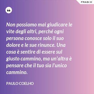 Non possiamo mai giudicare le vite degli altri, perché ogni persona conosce solo il suo dolore e le sue rinunce. Una cosa è sentire di essere sul giusto cammino, ma un'altra è pensare che il tuo sia l'unico cammino. - Paulo Coelho