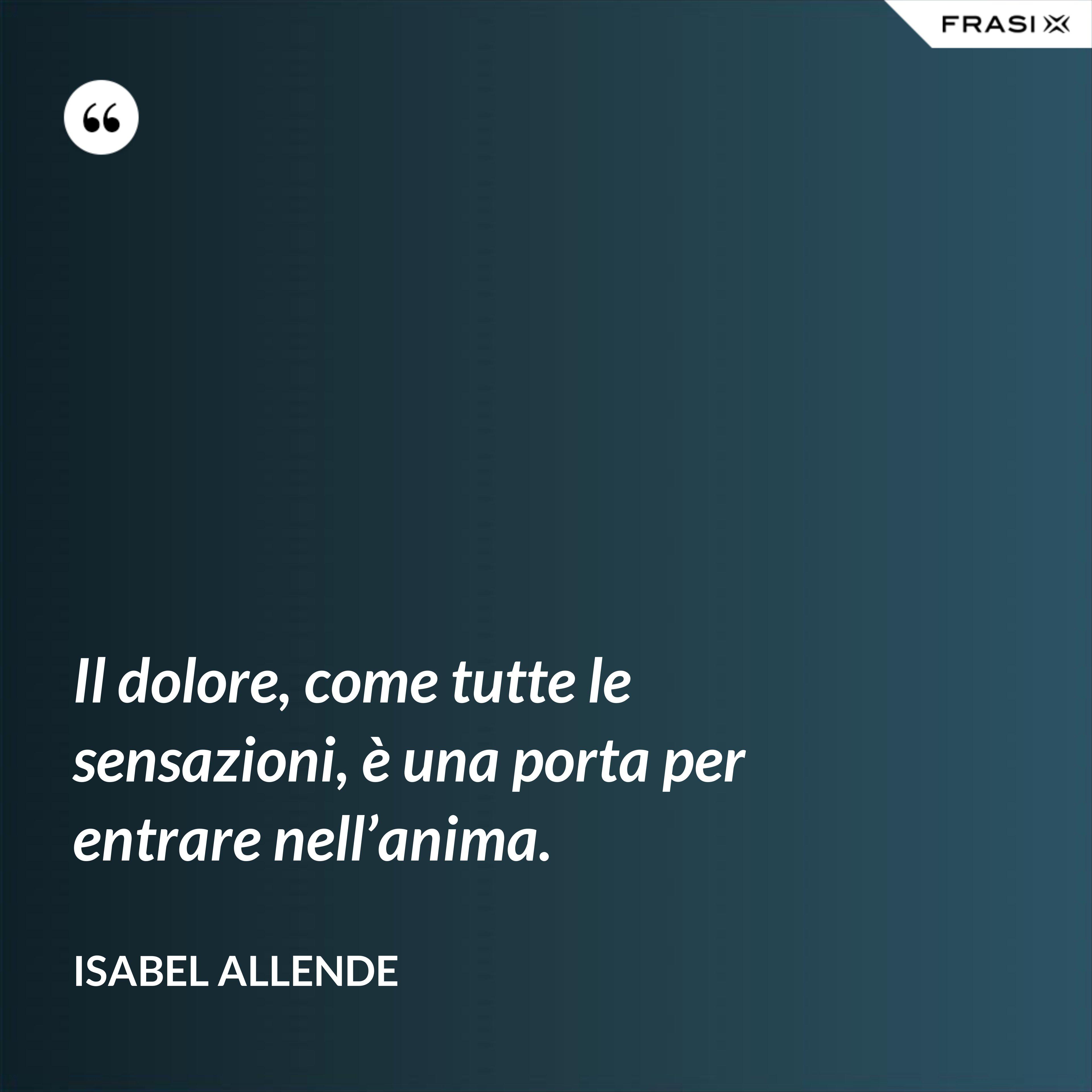 Il dolore, come tutte le sensazioni, è una porta per entrare nell'anima. - Isabel Allende