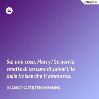 Sai una cosa, Harry? Se non la smette di cercare di salvarti la pelle finisce che ti ammazza.