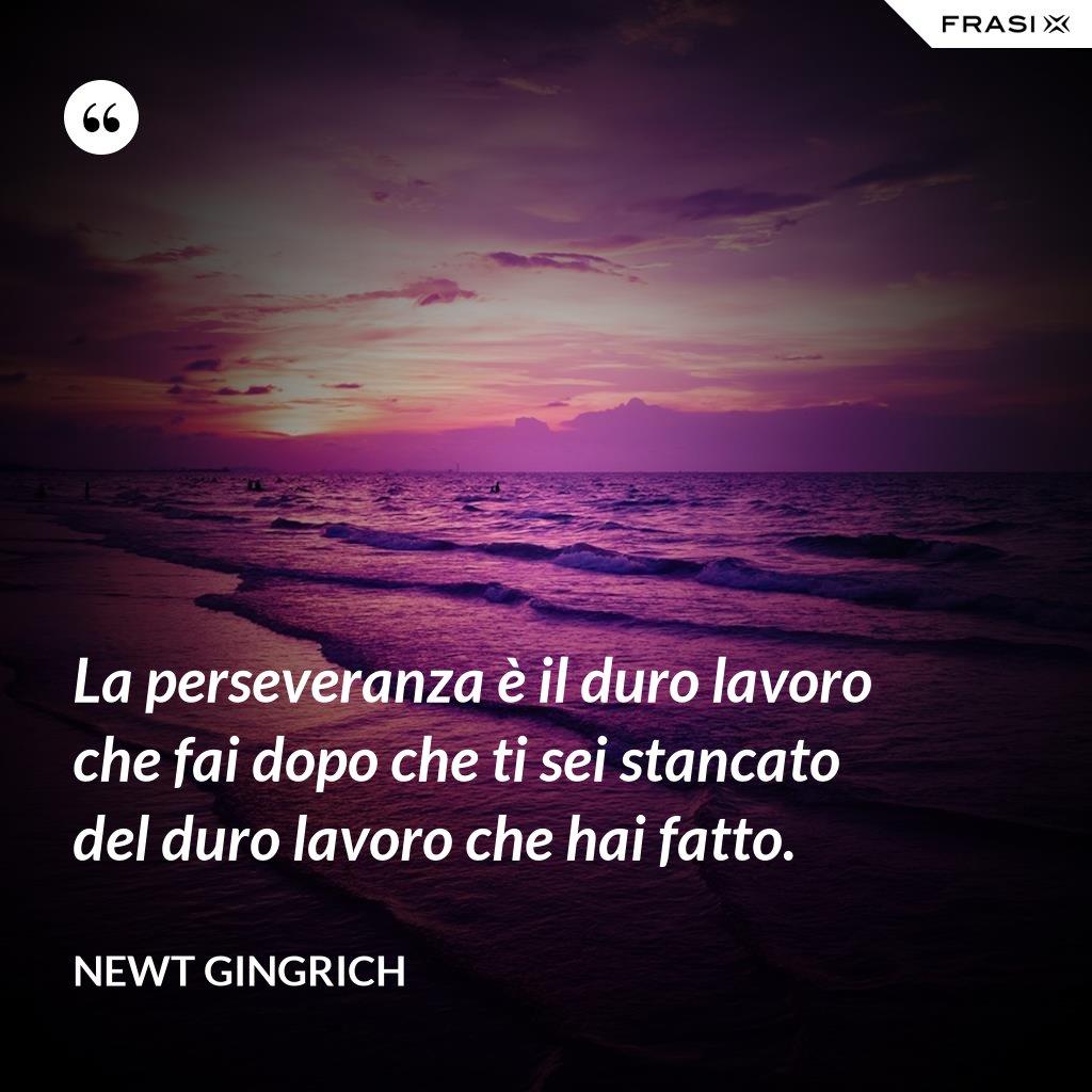 La perseveranza è il duro lavoro che fai dopo che ti sei stancato del duro lavoro che hai fatto. - Newt Gingrich