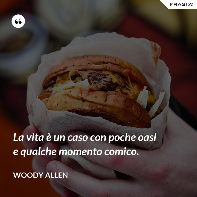La vita è un caso con poche oasi e qualche momento comico. - Woody Allen