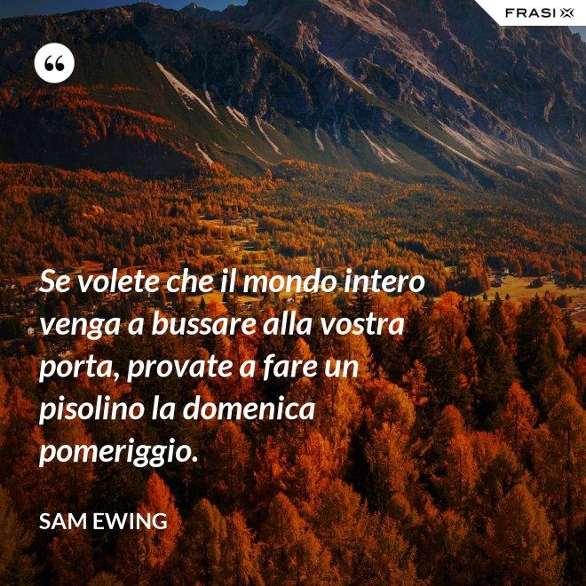 Se volete che il mondo intero venga a bussare alla vostra porta, provate a fare un pisolino la domenica pomeriggio. - Sam Ewing