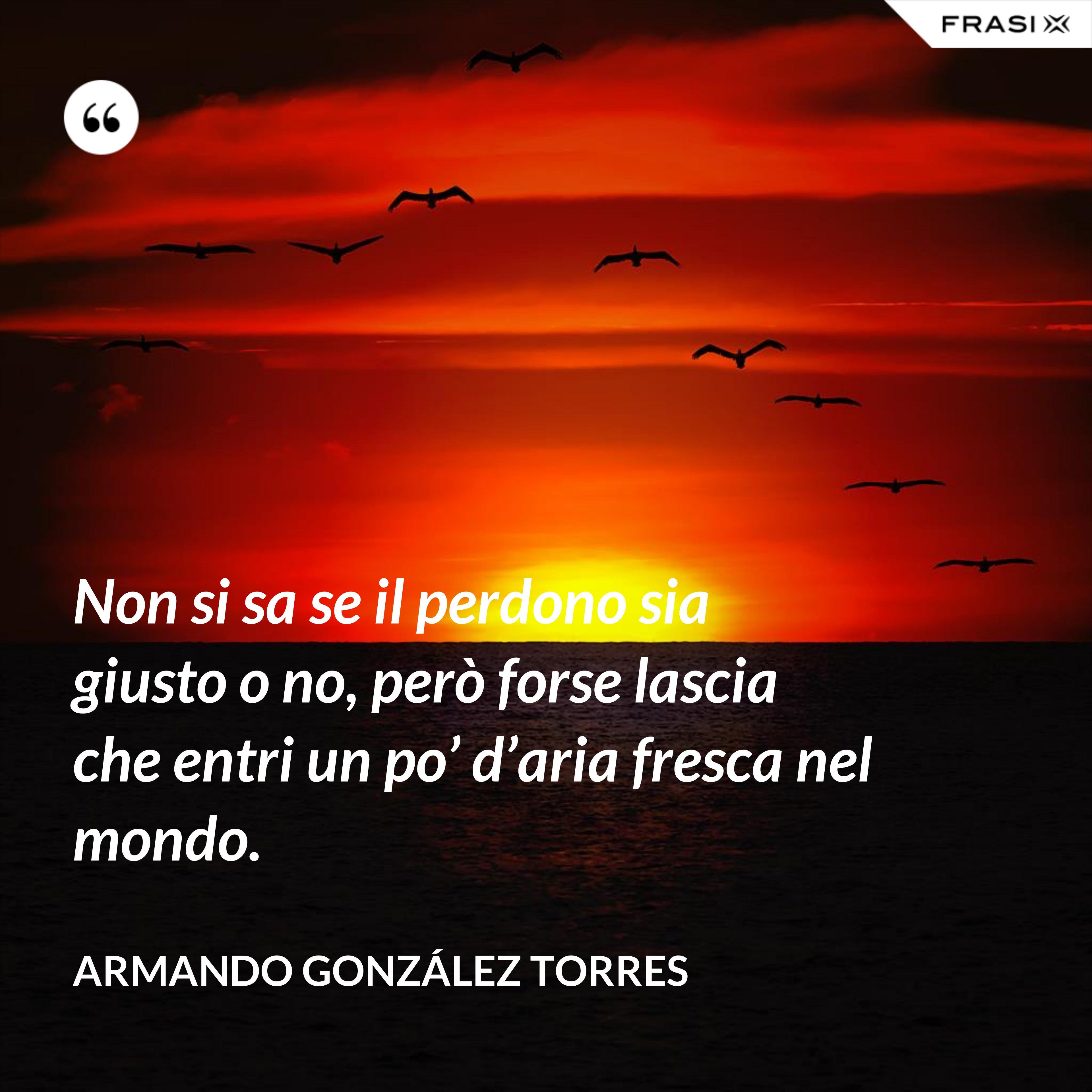 Non si sa se il perdono sia giusto o no, però forse lascia che entri un po' d'aria fresca nel mondo. - Armando González Torres