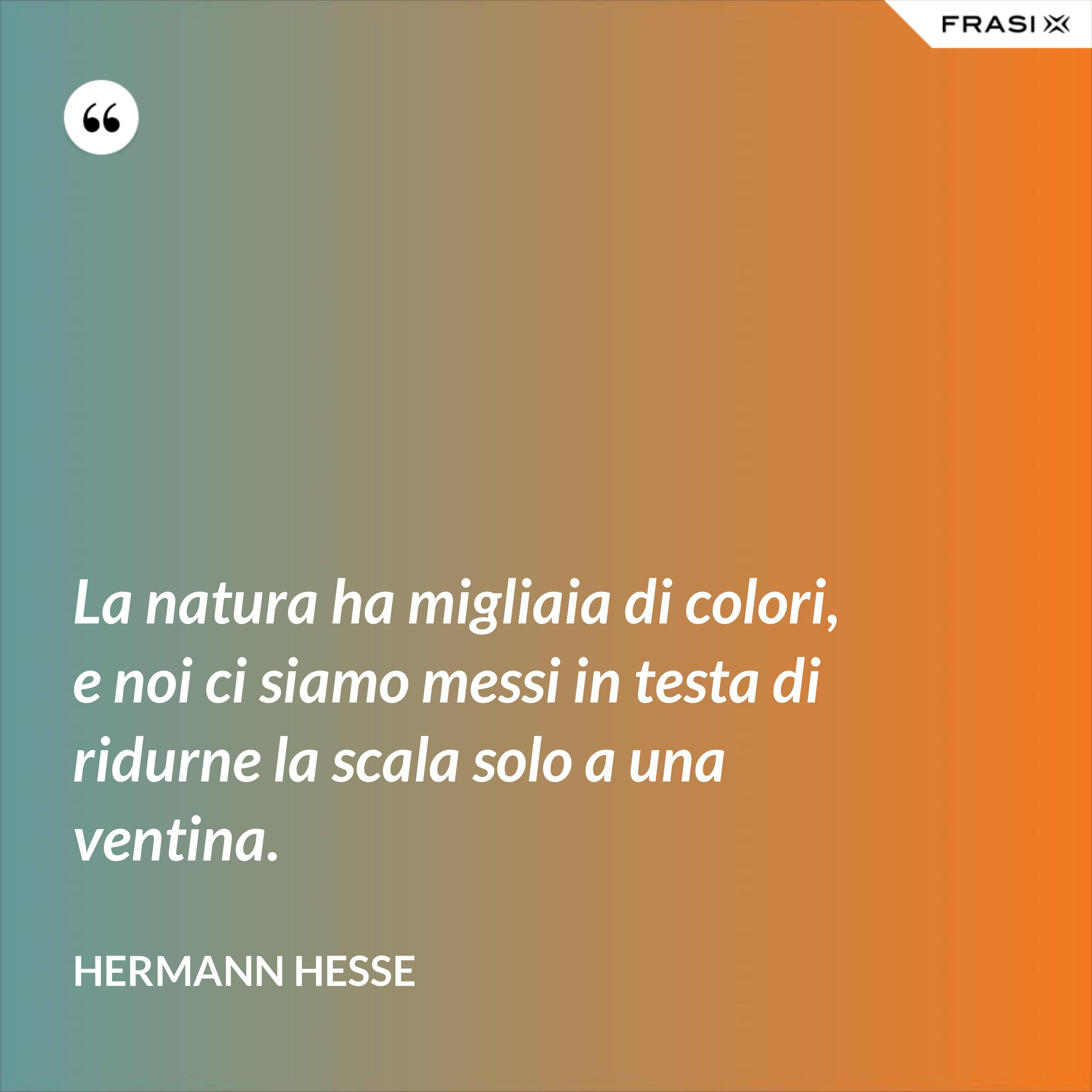 La natura ha migliaia di colori, e noi ci siamo messi in testa di ridurne la scala solo a una ventina. - Hermann Hesse