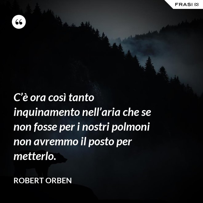 C'è ora così tanto inquinamento nell'aria che se non fosse per i nostri polmoni non avremmo il posto per metterlo. - Robert Orben