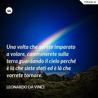 Una volta che avrete imparato a volare, camminerete sulla terra guardando il cielo perché è là che siete stati ed è là che vorrete tornare. - Leonardo Da Vinci