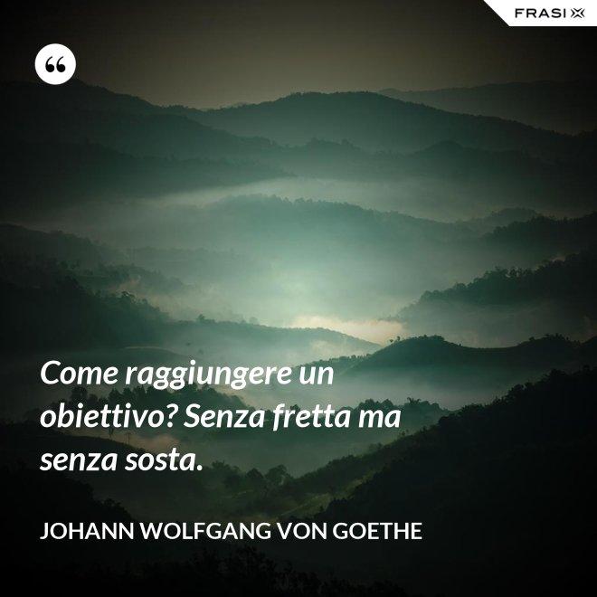 Come raggiungere un obiettivo? Senza fretta ma senza sosta. - Johann Wolfgang von Goethe