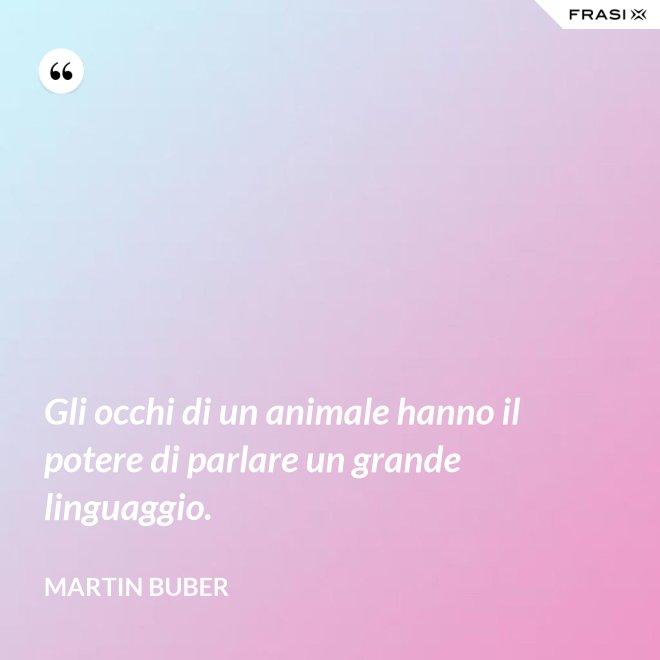 Gli occhi di un animale hanno il potere di parlare un grande linguaggio. - Martin Buber