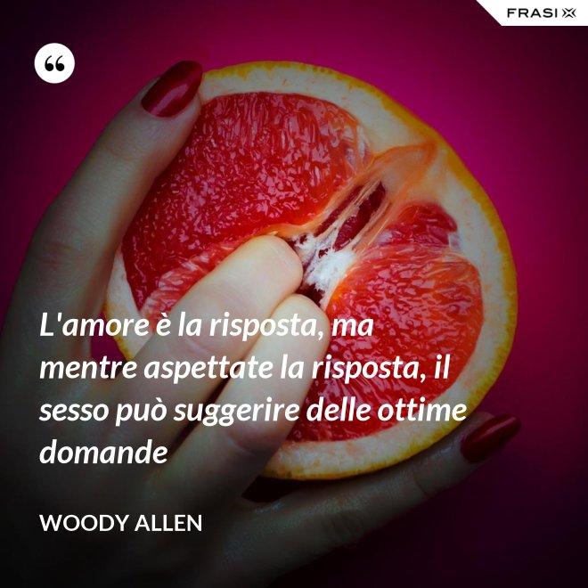 L'amore è la risposta, ma mentre aspettate la risposta, il sesso può suggerire delle ottime domande - Woody Allen