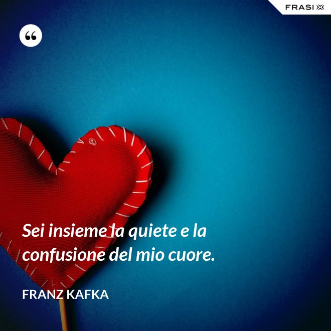 Sei insieme la quiete e la confusione del mio cuore. - Franz Kafka