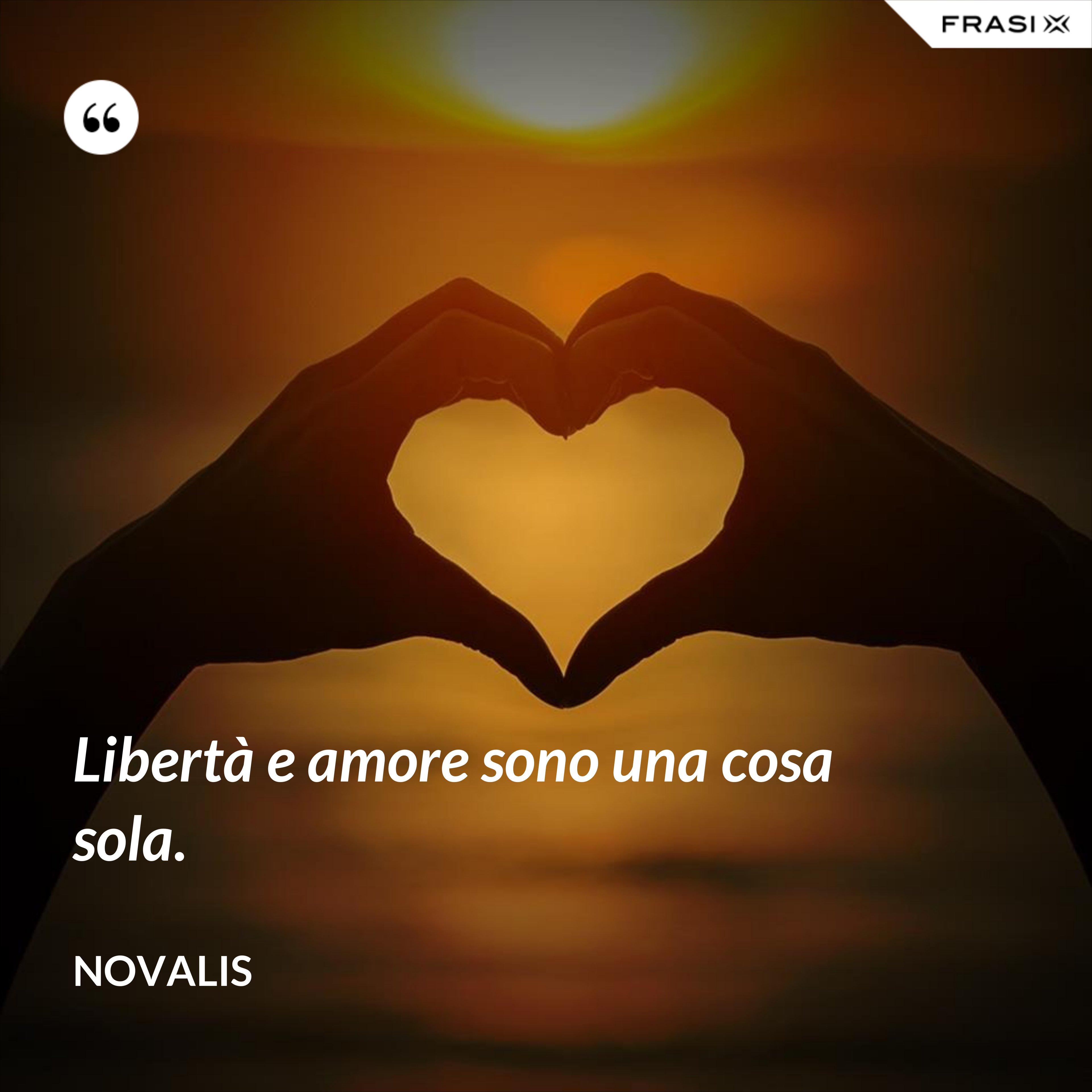 Libertà e amore sono una cosa sola. - Novalis