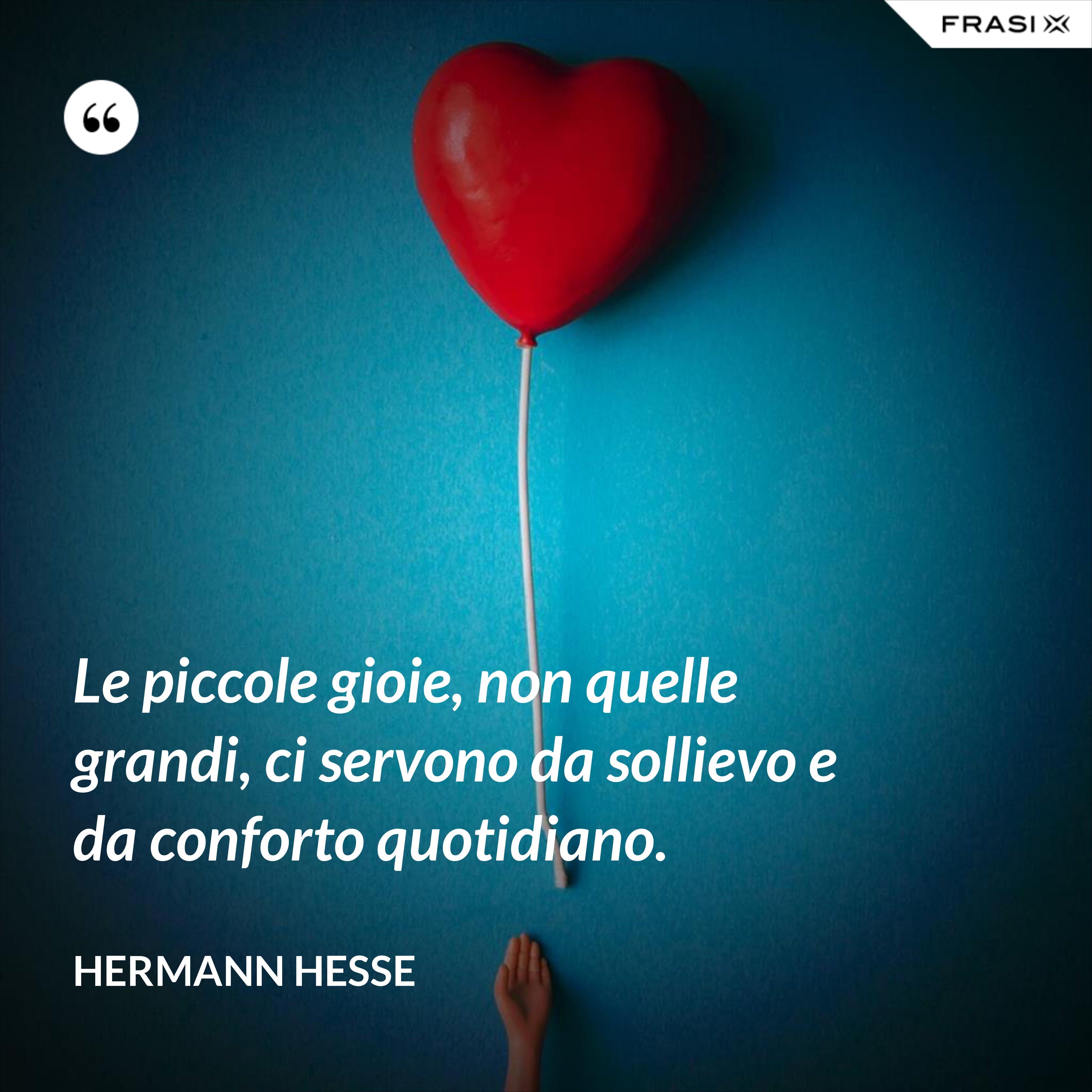 Le piccole gioie, non quelle grandi, ci servono da sollievo e da conforto quotidiano. - Hermann Hesse